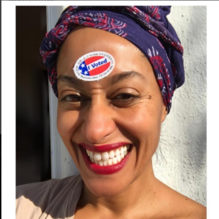 "Tracee Ellis Ross showed how ""thrilled"" she was to cast her vote. 