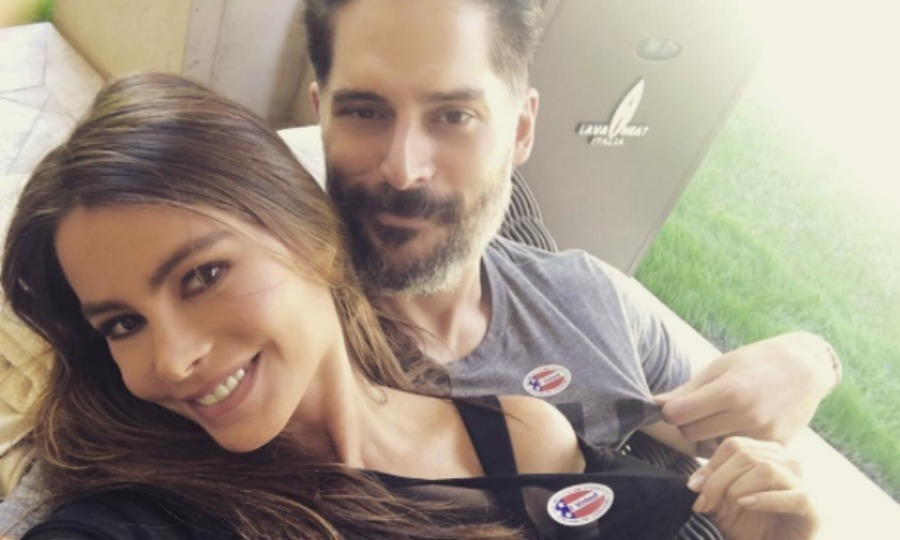 Sofia Vergara and Joe Manganiello kicked back and showed off their stickers in a sweet selfie. 