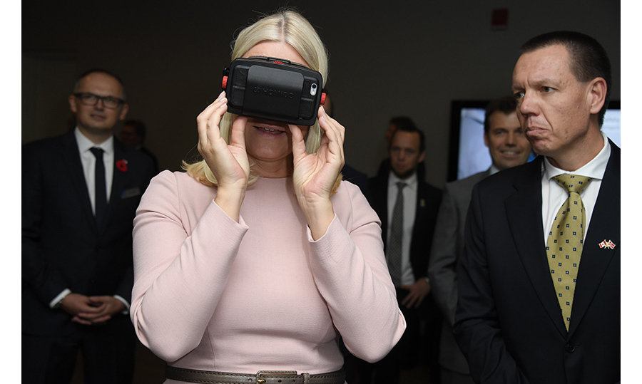 Princess Mette-Marit checked out the new technology. 