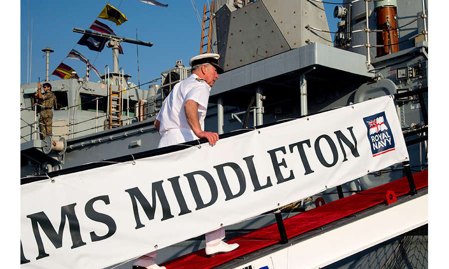 Prince Charles returned to naval duty on Thursday (Nov. 10) when he visited Bahrain's Royal Navy naval base. The father of two spent time aboard a ship with a rather familiar name, the HMS Middleton. 