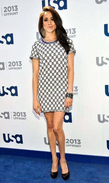 A fun and universally flattering embellished t-shirt dress for a USA network event.