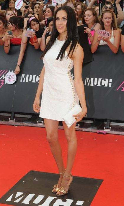 White hot! Meghan turned heads on the red carpet at the 2013 MMVAs in an ivory minidress.