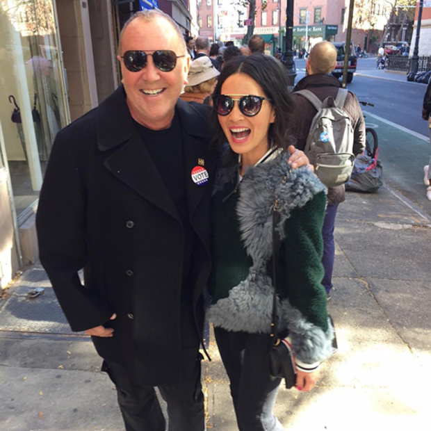 Look who Olivia Munn casually bumped into in New York on her way to vote: designer Michael Kors!