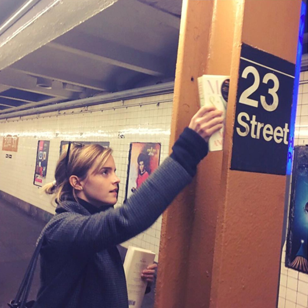 "<p>Emma Watson has been hard at work hiding free  copies of Maya Angelou's autobiography, <em>Mom & Me & Mom</em> inside London's subway system and now in New York too as part of her ""Our Shared Shelf"" global feminist book club. </p>