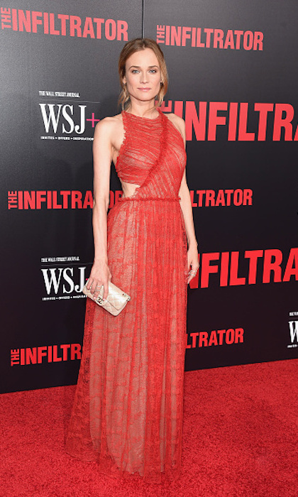 Diane Kruger chose one of her favourite designers, Canadian Jason Wu, and his striking, ruched red design at the July 2016 New York premiere of <em>The Infiltrator</em>. 