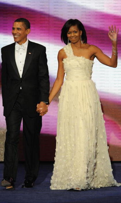 Fellow Jason Wu fan Michelle Obama arrived with husband and President Barack Obama at the Neighbourhood Ball in January 2009 in Washington. It was the first of ten inauguration balls.