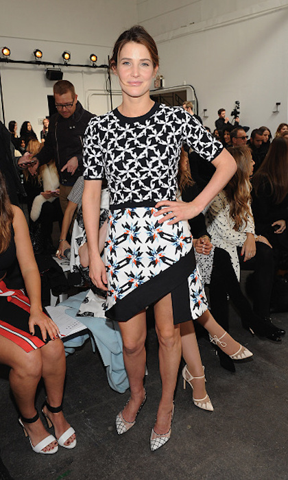 Toronto-raised Tanya Taylor has amassed a celebrity fanbase that includes Olivia Munn, Emma Roberts and Cobie Smulders - pictured here in an asymmetrical design at Tanya's February 2015 show.