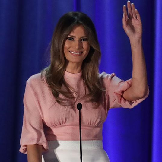 The former model wore a dusty pink Emilia Wickstead blouse with a white high-waisted skirt to deliver a speech in Pennsylvania.