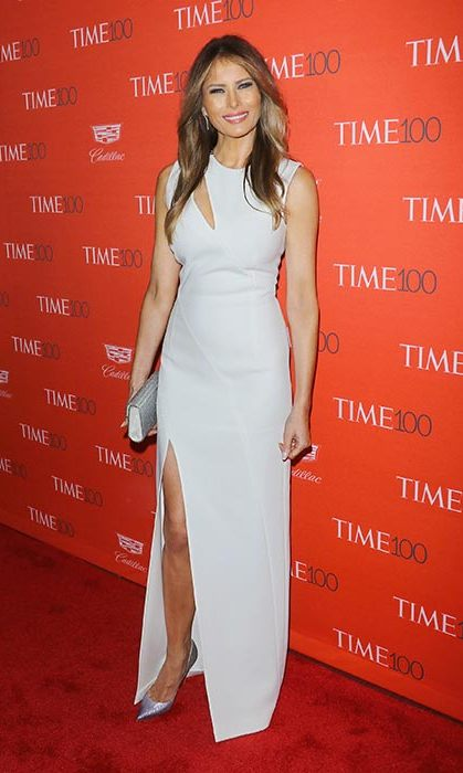 Melania wore a white floor-length gown with a daring slit to the Time 100 Gala.