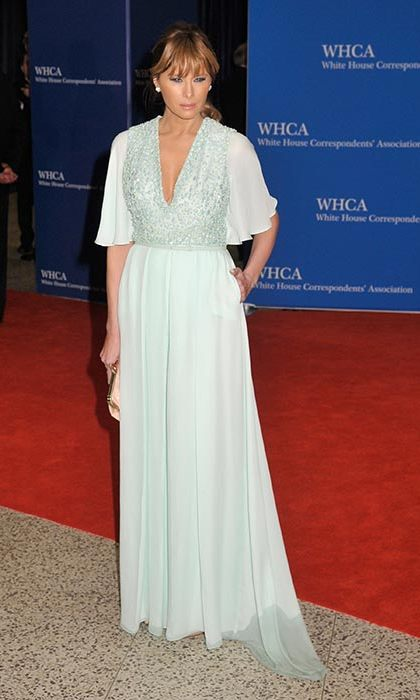 Melania wore an embellished mint gown to the White House Correspondents Dinner in 2015.