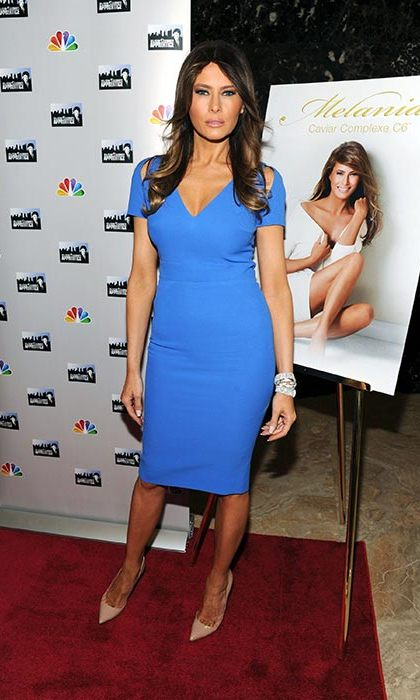 All eyes were on Melania in this bold blue dress.