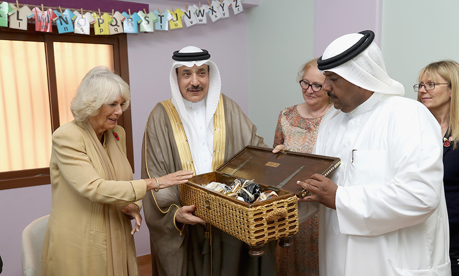 The Duchess of Cornwall was gifted with a box of traditional items manufactured by women at the Dal Al Aman Woman's Refuge Centre. The royal was meeting with Minister of Labour and Social Development Jameel Bin Mohammed Ali Humaidan on the fourth day of her gulf tour.
