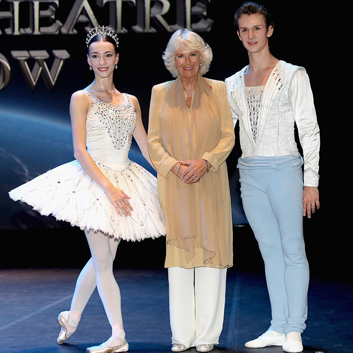 On the fourth day of her royal tour with Prince Charles, Camilla spent time with principle dancers Anna Nikulina and Artem Ovcharenko at the National Theatre in Manama, Bahrain.