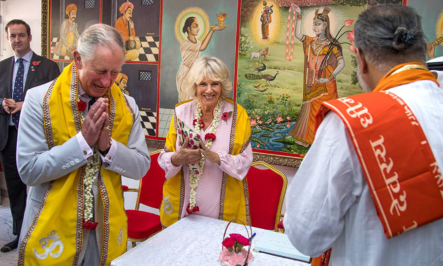 The Duke and Duchess of Cornwall visited a 200-year-old Krishna Temple on the third day of their royal tour.
