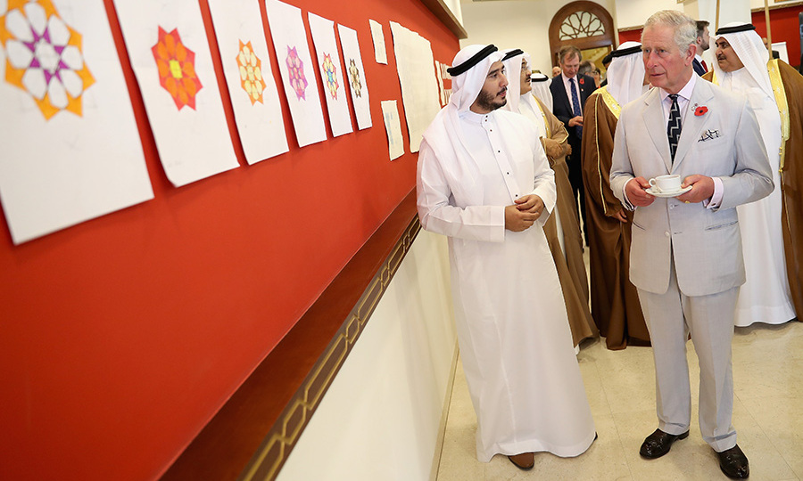 Prince Charles enjoyed some refreshments and a dose of culture at the Bahrain Cultural Centre.