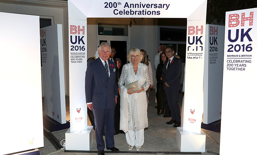 Prince Charles and Camilla attend the 200th anniversary celebrations for Bahrain and Britain's relationship at the British Embassy on Nov. 10.