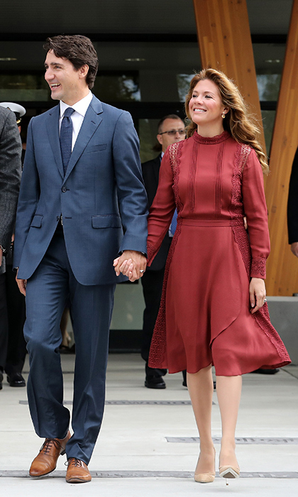 After welcoming Will and Kate to Canada the previous day, Sophie Grégoire Trudeau stepped out in September 2016 wearing a flowy Tanya Taylor dress with lace detail in Vancouver. 
