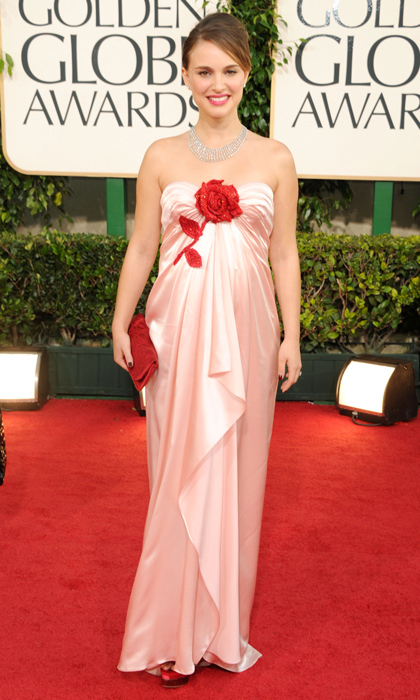 The <i>Black Swan</i> actress made a rosy impression at the 2011 Golden Globes in pink Viktor & Rolf. 