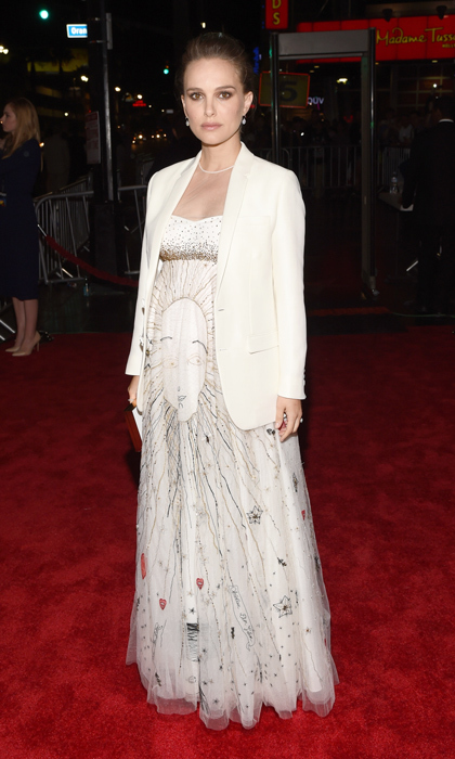 The star topped her strapless printed Dior spring 2017 gown with a white blazer to attend the premiere of <i>Jackie</i> at AFI Fest 2016. 