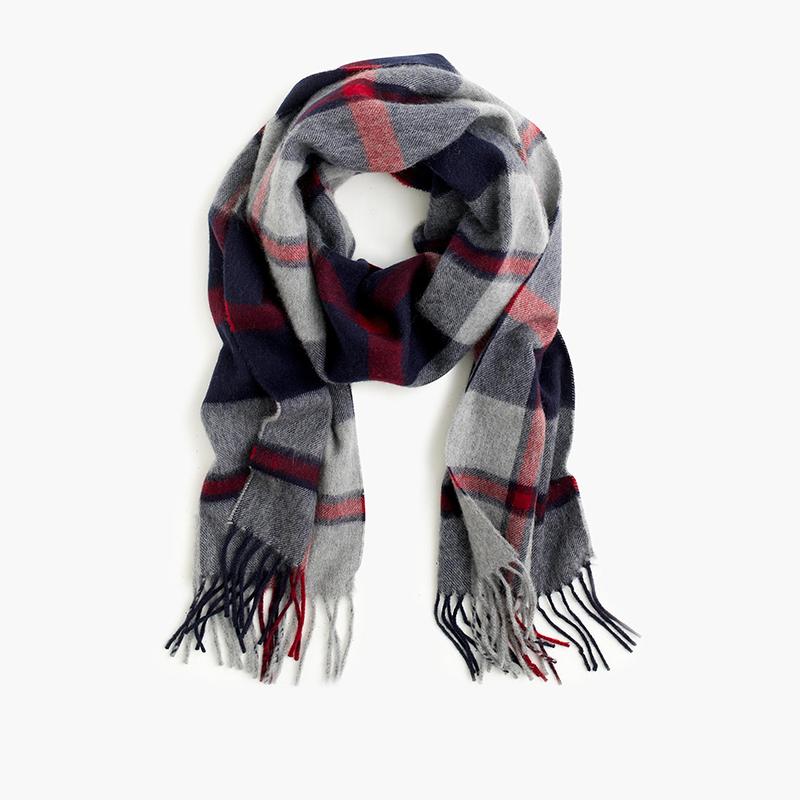 Plaid Cashmere Scarf, $128.