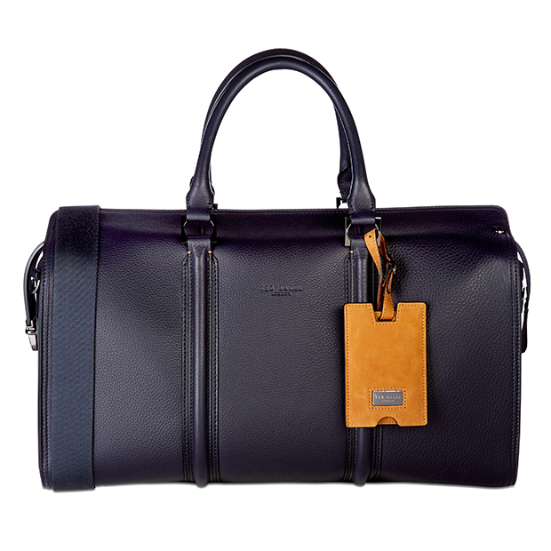 Ted Baker Dogtag Leather Holdall in Navy, $645.