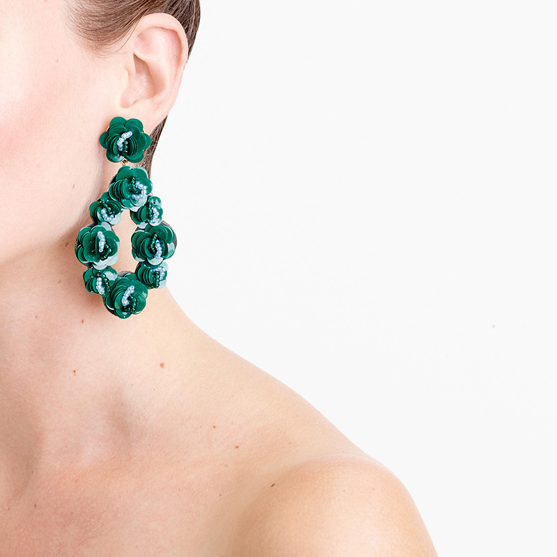 Leather-Backed Sequin Petal Earrings, $85.