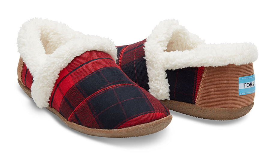 TOMS Red and Black Plaid House Slipper, $55. 