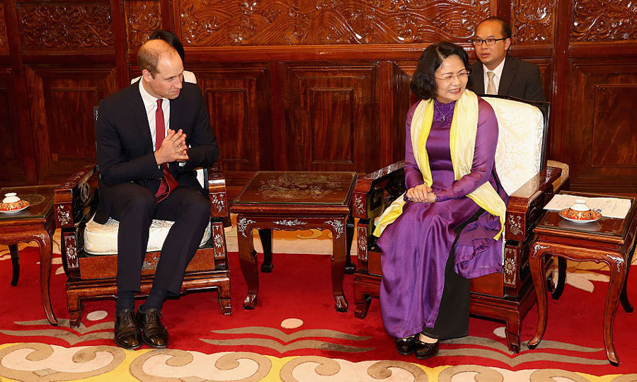 The Duke also met Vice President Dang Thi Ngoc Thinh at the Presidential Palace in Vietnam. William's two-day visit, which came at the request of Her Majesty's Government, is centred around the royal's attendance at the third  conference on the Illegal Wildlife Trade. 