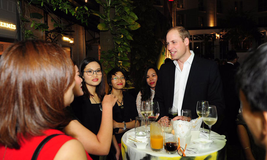 The Duke of Cambridge attended a British Embassy reception in the evening, where he met with Vietnam's arts, civil society and business leaders. 