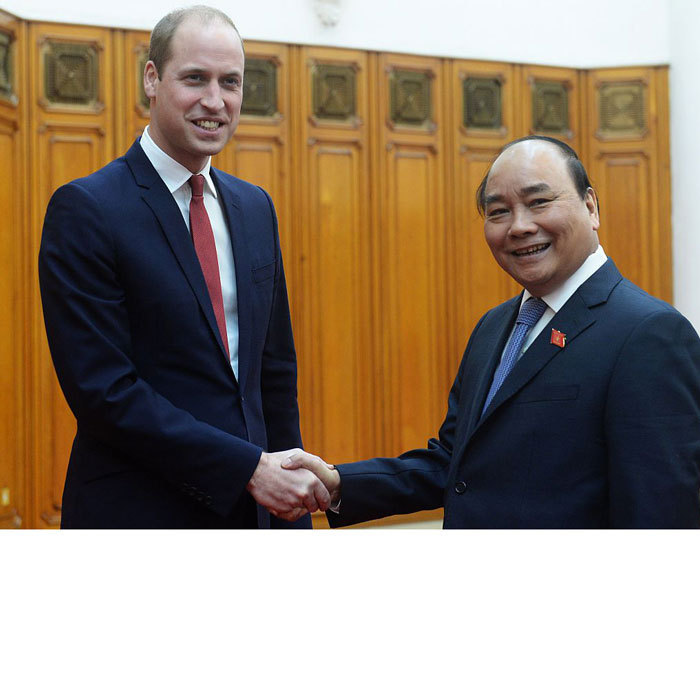 Prince William met with His Excellency Prime Minister Nguyen Xuan Phuc at the Prime Minister's residence. The pair discussed the strength of the relationship between the United Kingdom and Vietnam. William told the PM that he is looking forward to hearing about the efforts Vietnam is using to tackle the challenges presented by the illegal wildlife trade. 