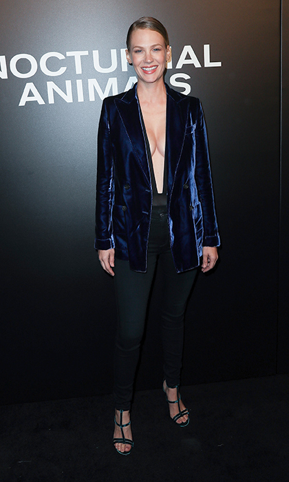 January Jones stunned in this high-shine blue velvet Tom Ford suit jacket at the Los Angeles screening of <em>Nocturnal Animals</em>. 
