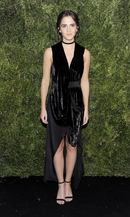 Emma Watson shined in a crushed velvet KITX by Kit Willow dress at the Museum of Modern Art film benefit in New York.