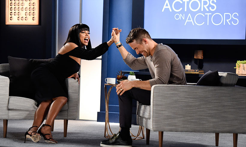 New dad Ryan Reynolds got an enthusiastic high five from Taraji P. Henson during a chat at Variety's Actors on Actors event in Los Angeles. 