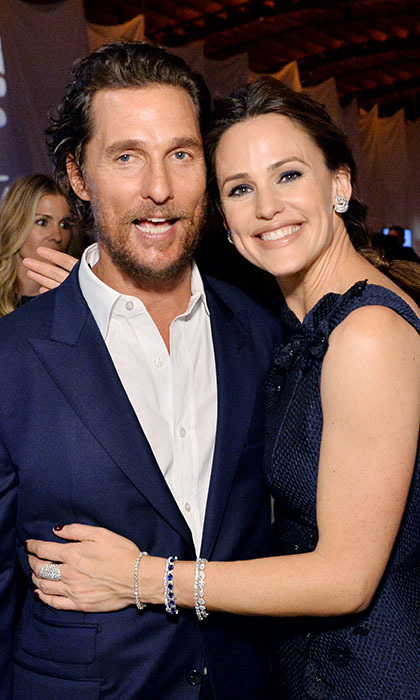 Jennifer Garner had a cuddle reserved for her <i>Dallas Buyers Club</i> co-star Matthew McConaughey at the Baby2Baby Gala in Culver City, California. 