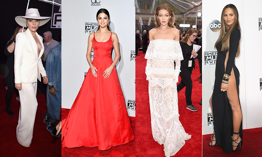 Gigi Hadid led the fashion parade at the 2016 American Music Awards, where the supermodel - clad in a sheer and lacy white gown - co-hosted the show alongside SNL alum Jay Pharoah. Selena Gomez sizzled in a red ball gown, Lady Gaga was white hot, Hailee Steinfeld slipped on a sequinned jumpsuit, Chrissy Teigen showed off her stunning stems, Ciara rocked an unexpected maternity look and Bella Thorne was pure punk. Click through to see all the looks straight from the red carpet...