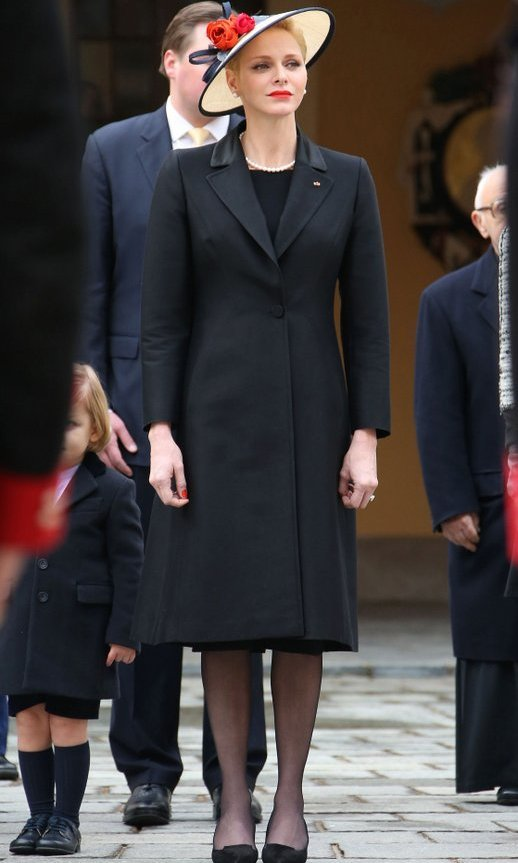 Mom of two Princess Charlene kept her look sleek and simple in black.