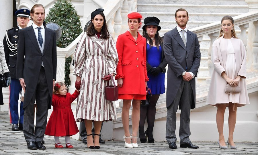 Pierre Casiraghi and wife Beatrice, far right, with (left to right) Andrea Casiraghi and wife Tatiana Santo Domingo – holding hands with daughter India – Charlotte Casiraghi and Princess Stephanie's daughter Camille Gottlieb.