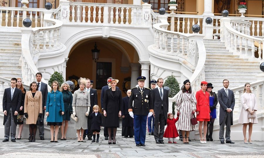 A family portrait in the Monaco Palace Courtyard.