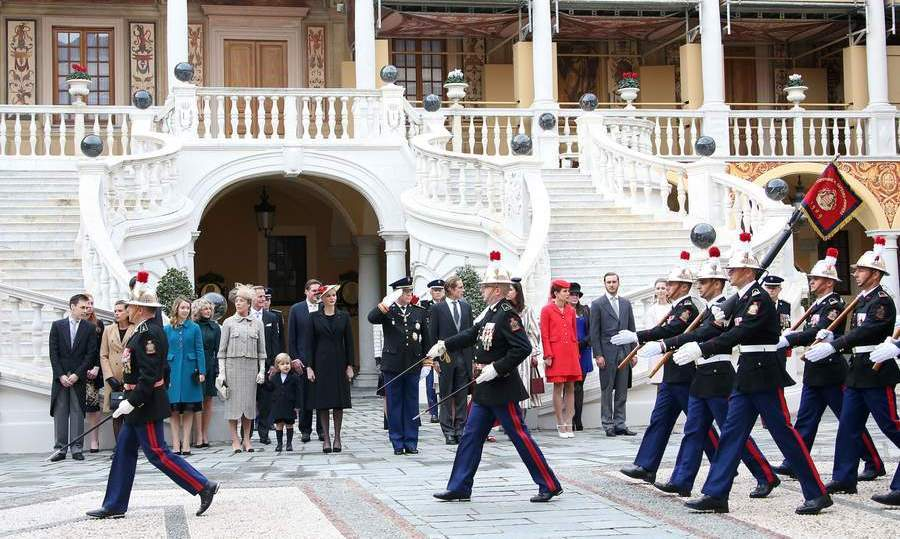 Another view of the festivities held in the courtyard, which was also the scene of Prince Albert and Princess Charlene's 2011 wedding.