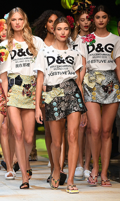 She also walked in Dolce & Gabbana's show during Milan Fashion Week. 