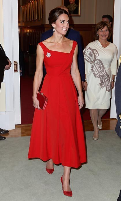 Kate wore the red Preen Finella gown during her tour of Canada in September. 
