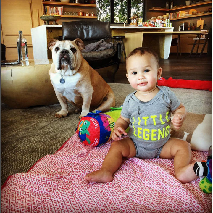 In November, Chrissy shared this precious snap of her 'Little Legend' posing with her 'big bro' Puddy. 