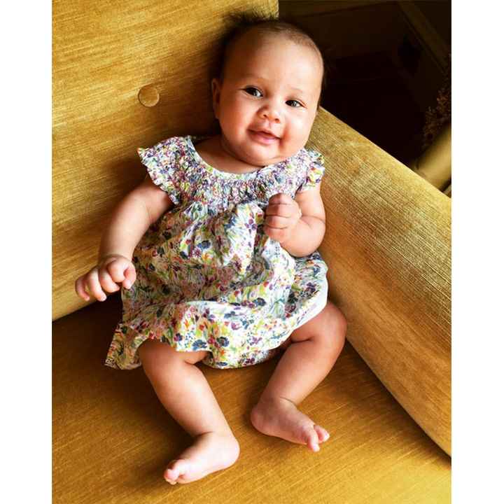 Luna wore one of her best dresses for her first trip abroad to Italy when she was only three months old. 