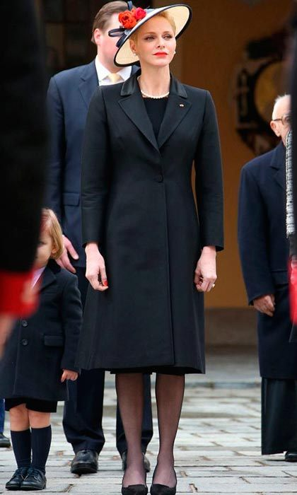 Mom-of-two Princess Charlene kept her outfit simple, in classic black for Monaco's National Day.<br>Photo: &copy; Getty Images