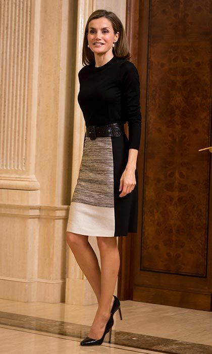 Queen Letizia looks sophisticated in this BOSS ensemble for an audience at Zarzuela Palace.<br>Photo: &copy; PA