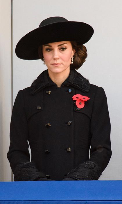 The Duchess of Cambridge wore a Diane von Furstenberg coat for the morning's Remembrance Sunday service in Whitehall, London.<br>Photo: &copy; PA