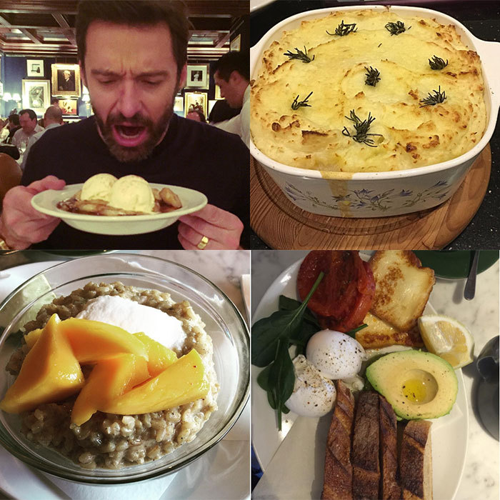 <h2>Hugh Jackman</h2><p>The <em>Wolverine</em> star follows an impressive healthy diet to match his gruelling training regime, but that doesn't stop him from trying out a wide range of foods, from a breakfast of champions to sweet treats. He's also a fan of Jamie Oliver's cookbooks and proudly shows off the recipes he's made!<br>Photo: &copy; Instagram/@thehughjackman</p>