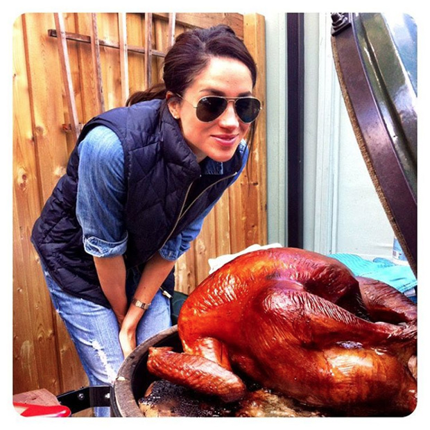 While boyfriend Prince Harry is on a royal tour in the Caribbean, actress Megan Markle is carrying on the Thanksgiving tradition at home. 