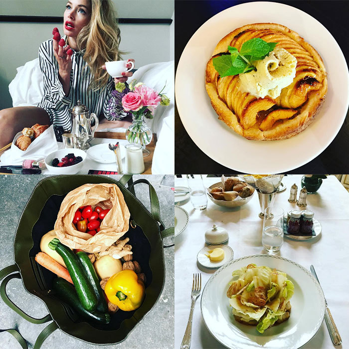 <h2>Doutzen Kroes</h2><p>The Victoria's Secret angel manages to give us food envy and a serious case of wanderlust with her striking snaps from her favourite restaurants all over the world.</p><p>When she is at home, the model favours market-bought fresh fruit and veggies and posts photos of her culinary creations<br>Photo: &copy; Instagram/@doutzen</p>