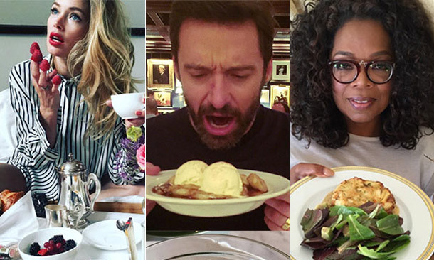 Click through our gallery to see which celebrities will set your tastebuds flying via their food-laden Instagram feeds...